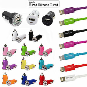 USB-Car-Adapter-Charger-amp-MFI-Certified-Lightning-Cable-For-iPhone-5-6-iPad