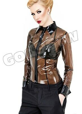 100% Latex Rubber Gummi Shirt 0.45mm Coat Top Jacket Catsuit Suit B-trans Unique