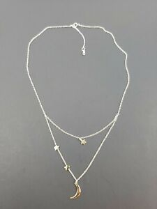 Moon-amp-Star-Trio-2-Tone-Necklace-Sterling-Silver-Retails-for-70-Free-Shipping