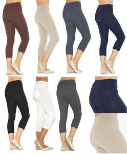 Capri-3-4-Leggings-donna-leggings-cotone-pantaloni-vita-alta-con-tasche