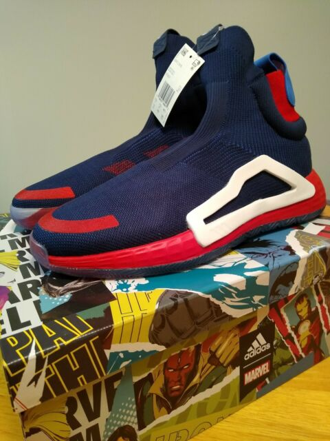adidas x Marvel N3XT L3V3L Captain America Mens Navy Basketball Sneakers EF2257