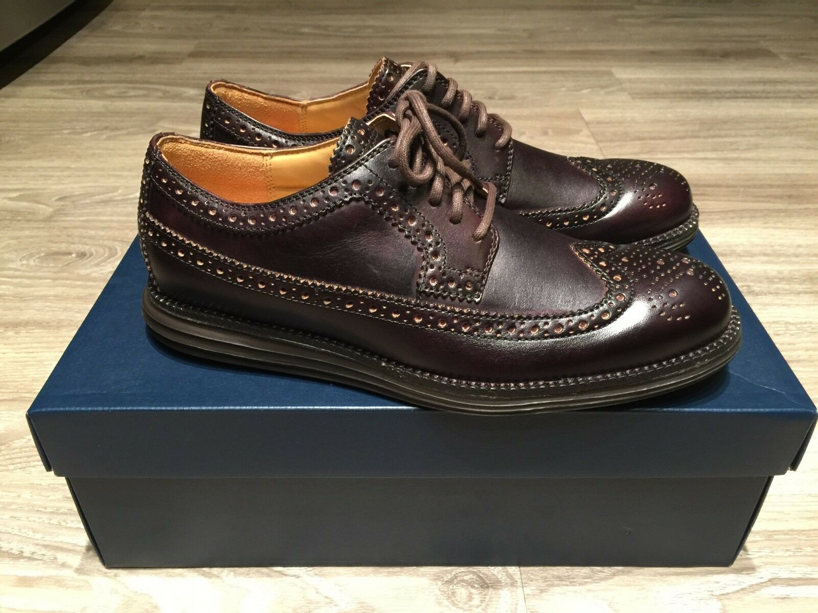 Cole Haan LunarGrand Long Wing Tip Leather T-Mgold Brown Men's C13738 Brand New