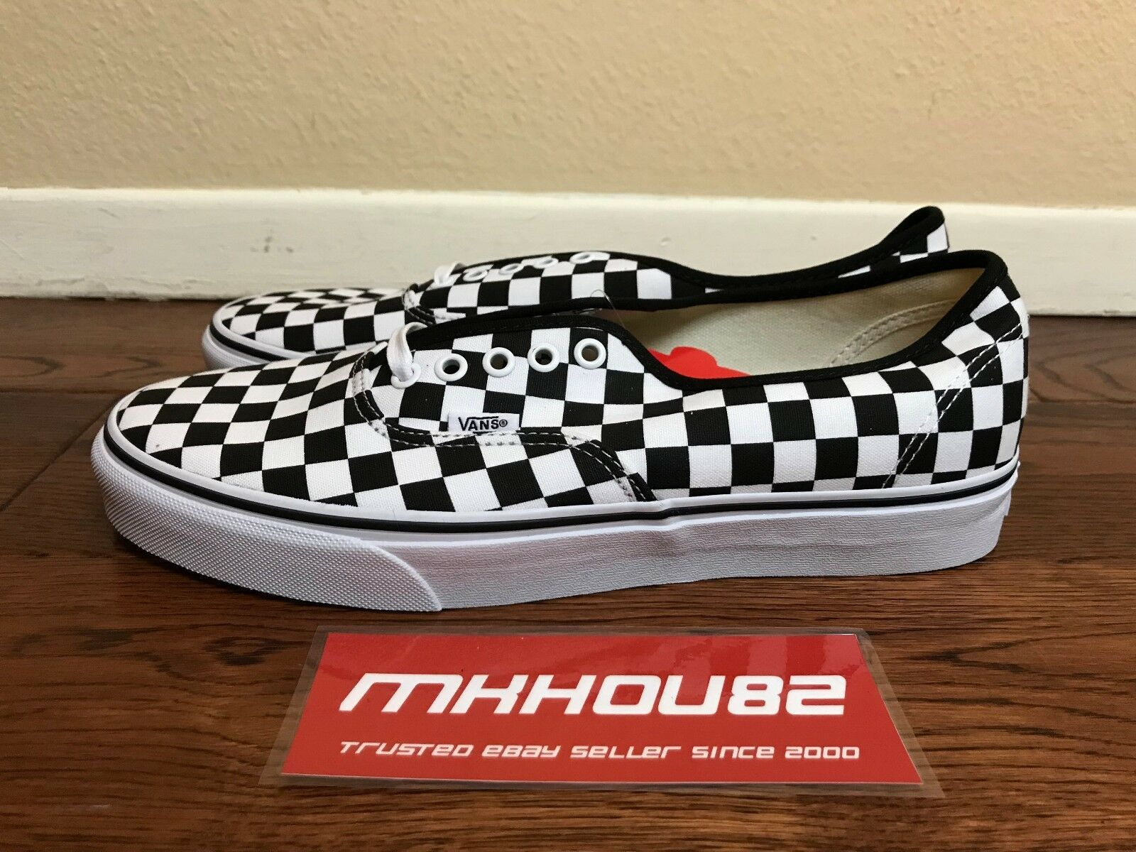 a47b22395e9462 New Vans Authentic Checkerboard Checkered Black Black Black White Era Shoes  Size 10.5 bf8f74