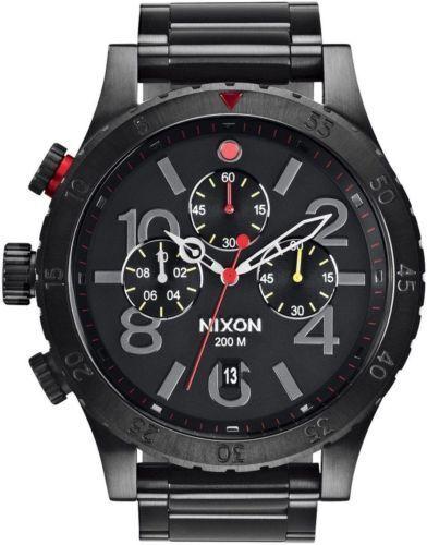 尼克松原-48-20-時辰A486-1320-全黑MULT-的不銹鋼-48毫米 - 手錶