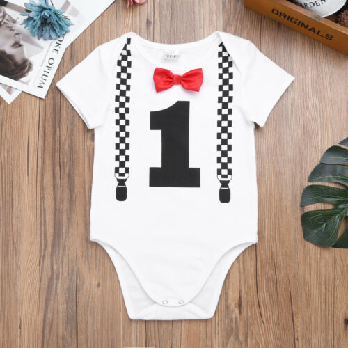 Baby Boy 1st First Birthday Outfits Bowtie Romper Party Cake Smash Bodysuit Set