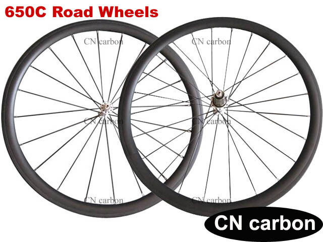 Ultra light 650C 38mm clincher carbon fiber road wheels set Tubeless Ready 1290g