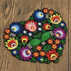 Heart-Patch-Flower-Embroidered-Applique-DIY-Sew-Iron-On-Badge-Bag-Fabric-Craft