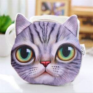Lovely-Cat-Face-Animal-Wallet-Purse-Zipper-Case-Coin-Pouch-Womens-Ladies