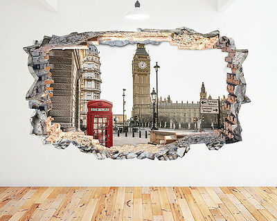 H828 Red Phone Box London Big Ben Smashed Wall Decal 3D Art Stickers Vinyl Room