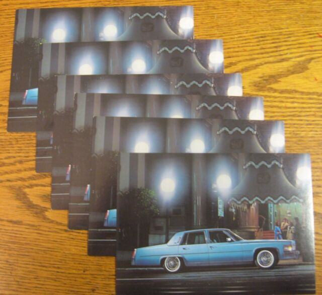 1977 Cadillac Original Post Card LOT 6 pcs, Fleetwood Brougham Sedan 5 X 7