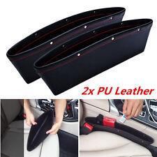 2x Catch Catcher Box Caddy PU leather Car Seat Gap Slit Pocket Storage Organizer