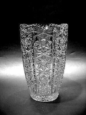 """Brilliant Cut Leaded Crystal Glass 9"""" Vase - RARE & Excellent!"""