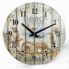 Weathered Look LARGE Wall Clock Seashells Marine Coastal Nautical Beach Decor
