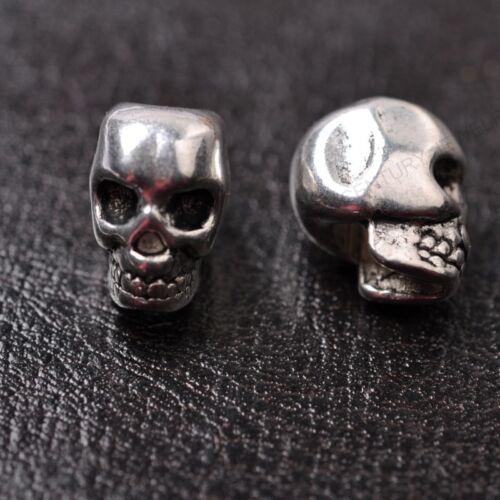 10Pcs Tibetan Silver Skull Charms Beads Jewelry Findings 13X10MM C810