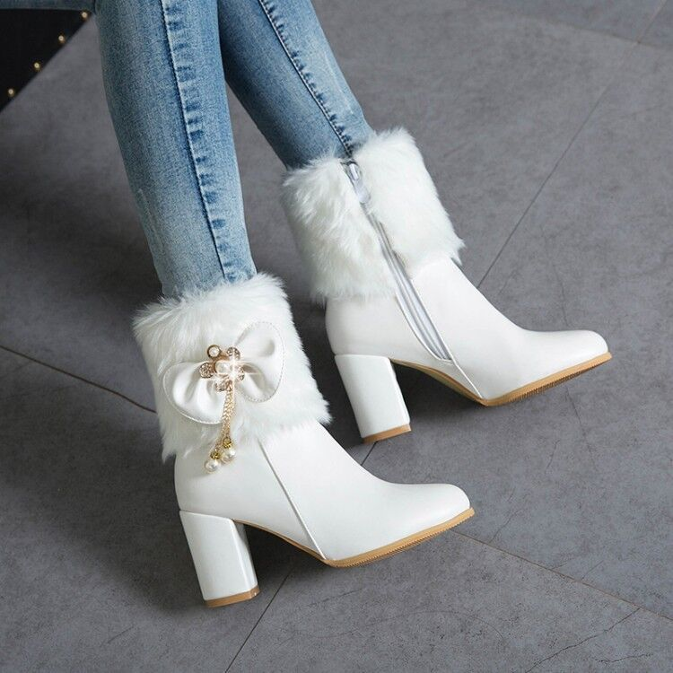 Sweet Bow Ankle Boots Womens Winter Fashion Fur Trim Block Heel PU Leather Boots