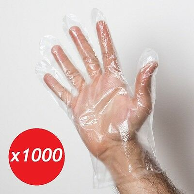 1000 Plastic Polythene Gloves Disposable Clear