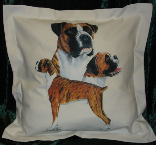 Hand Crafted Boxer dogs cushion cover