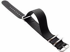 18mm 20mm 22mm 24mm Nato Zulu G10 Strong Nylon Watch Strap Band 4 Rings Black