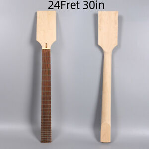 24fret-30inch-Electric-Bass-Guitar-Neck-Maple-Rose-wood-Handmade-Unfinished