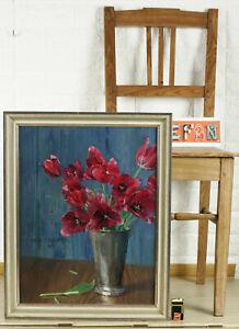 ERNST-TOEPFER-1877-1955-OLGEMALDE-ANTIK-1931-TULPEN-STILLLEBEN-JUGENDSTIL-tulips