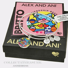 Authentic Alex and Ani Romero Britto Art Infusion, Friendship Bear Silver Bangle