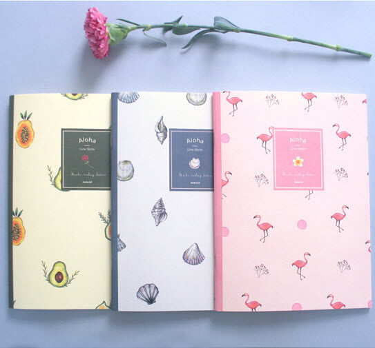 Aloha Pattern Illustration Notebook School College Journal Memo Note Study Book