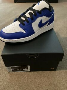 Nike Air Jordan 1 Low Game Royal Blue White 553560 124 Grade School Sz 7y 8 5w Ebay