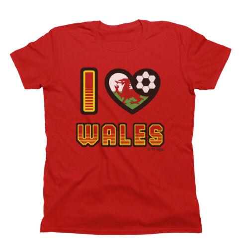 I LOVE WALES Football T-Shirt New *Choice Of MENS LADIES KIDS*