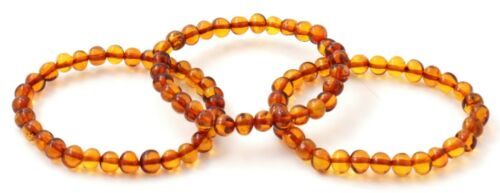 7-8 inches Stretch Cognac Amber Wholesale Lot 3 Amber Bracelets for Adults