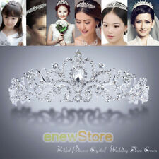 Wedding Bridal Princess Crystal Tiara Rhinestone Crown Hair Accessory Silver