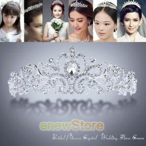 Wedding-Bridal-Princess-Crystal-Tiara-Rhinestone-Crown-Hair-Accessory-Silver
