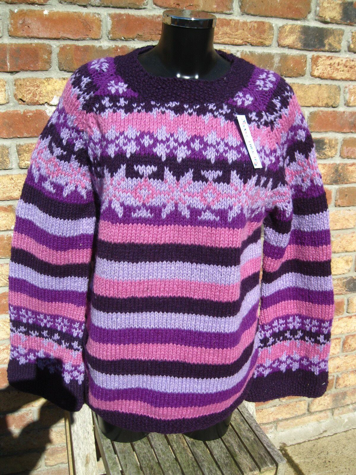 Hippy MAGLIONE VIOLA A RIGHE Boho HAND HAND HAND Knitted Multi colore Nepal Fair Trade 9ad11e
