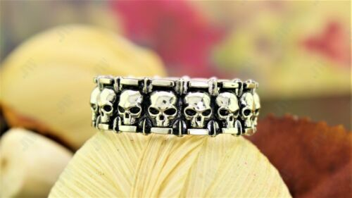 Vampiro cráneo y patrón de estrella para hombre anillo de bodas Biker Oxidado Plata Esterlina