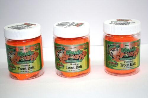 3 x uncle Josh trout Bait 68g Fluor Orange