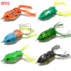 Details about 6pcs Blackfish Mixed Minnow Fishing Lures Ray Frog Soft  Bionic Bait Tackle New