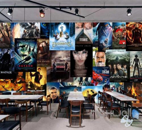 3D Movie Poster Puzzle Wall Paper Theatre Decals Print Decor Wallpaper