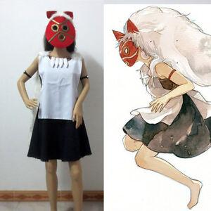 Image is loading Anime-Princess-Mononoke-Hime-san-Cosplay-Costume-Include- & Anime Princess Mononoke Hime san Cosplay Costume Include Mask   eBay
