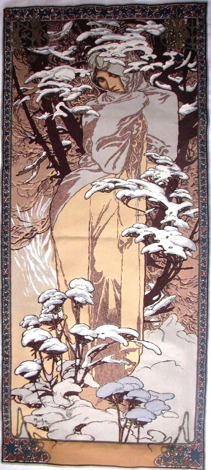 ALPHONSE MUCHA  WINTER  59  X 25  FULLY LINED BELGIAN TAPESTRY WALL HANGING