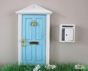 Opening blue elf door wooden miniature tooth fairy post for Wooden fairy doors that open
