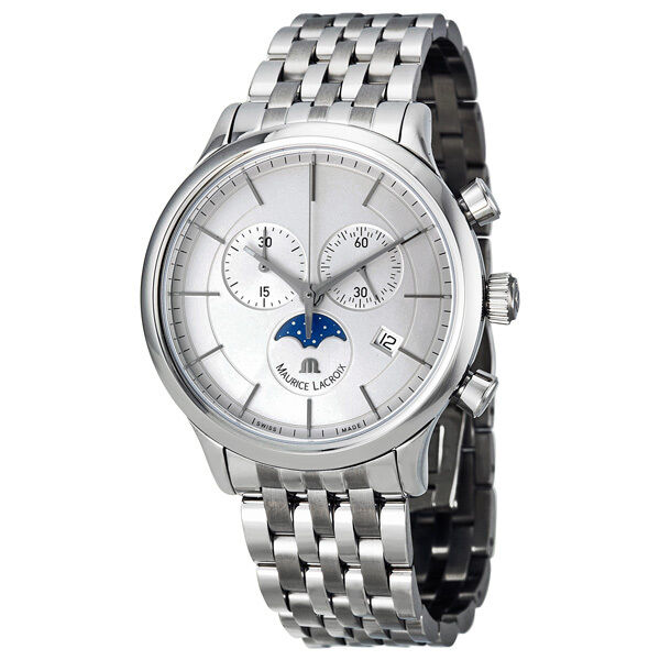 Maurice Lacroix Les Classiques Phase de Lune Silver Dial Chronograph Mens Watch
