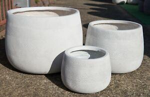 Outdoor-Garden-Patio-Round-Planter-Lightweight-Winston-Drum-Pot-White
