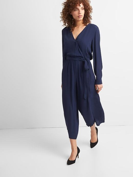 GAP DARK NIGHT NAVY  LONG SLEEVE WRAP  JUMPSUIT   XS