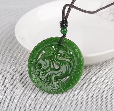 100/% China natural  Hand carved  white Jade Pendant  双龙拜寿