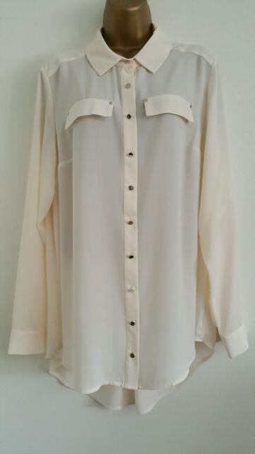 NEW Ex Evans Size 16 18 20 22 Cream Chiffon Long Sleeve Smart Shirt Top Blouse