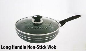 Long-Handle-24cm-Induction-Compatible-Non-Stick-Wok-Frying-Pan-Sauce-amp-Glass-Lid