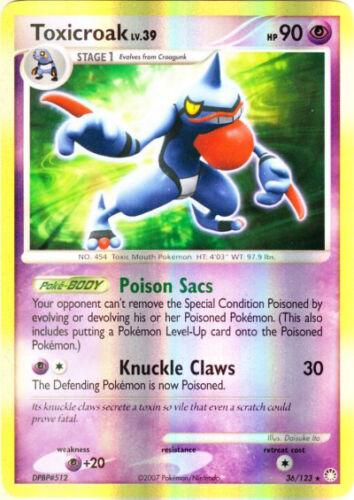 Toxicroak Reverse Holo Rare Pokemon Card DP2 Mysterious Treasures 36//123