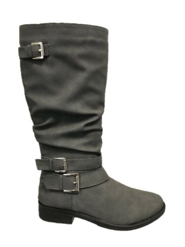 WOMENS LADIES ZIP UP  BUCKLES LOW HEEL MID CALF UNDER KNEE BOOTS SHOES