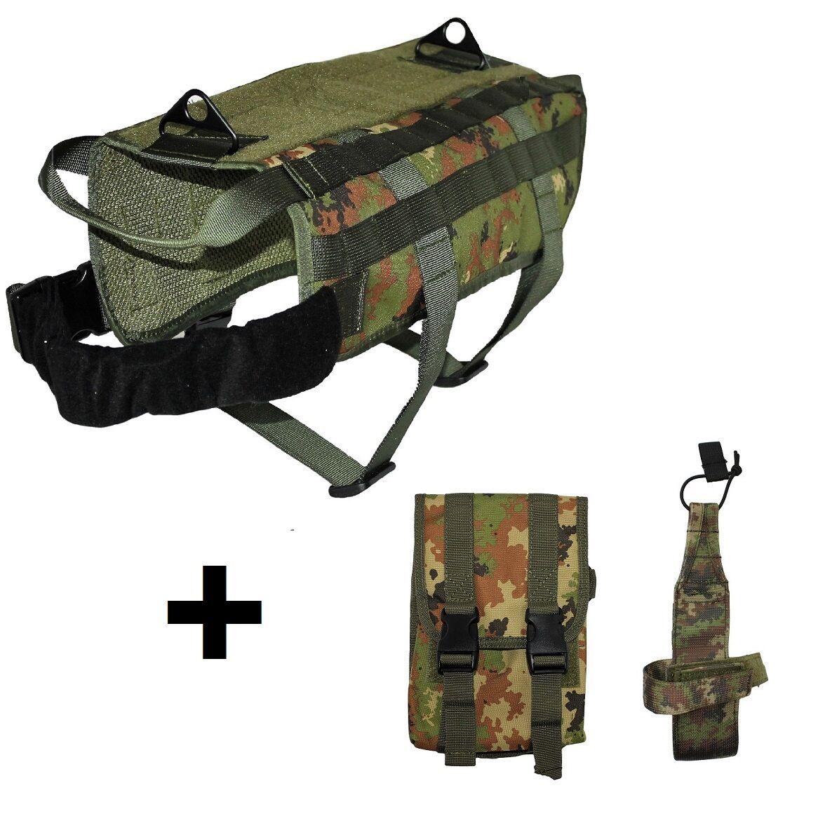 DOG TACTICAL VEST VEST VEST + WATER HOLDER + MOLLE BAG verde HUNTING K9 MILITARY ARMY 56da46