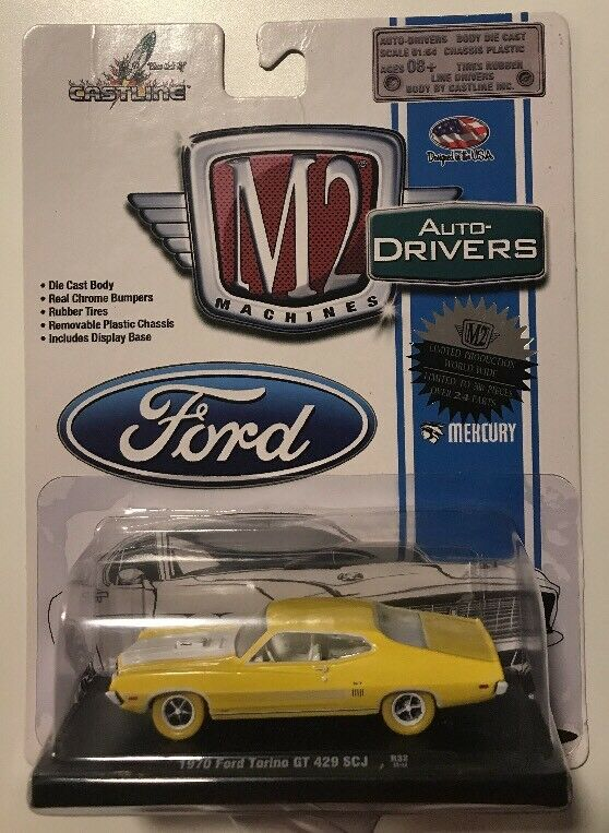 M2 Auto-Drivers 1970 FORD TORINO GT 429 SCJ * 1 of 500 Chase * giallo Tires *15D