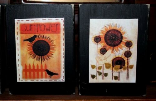 Sunflowers Crows Primitive Rustic Four Piece Wooden Shelf Sitter Block Set